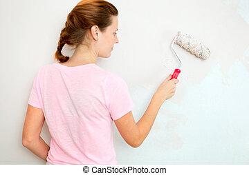 年輕婦女, 畫牆, 由于, 滾柱, brush.