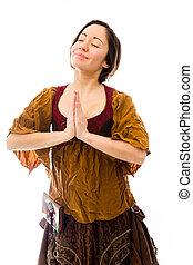 年輕婦女, 站立, 在, 祈禱位置