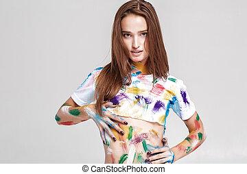年輕婦女, 被誹謗, 在, 多种顏色, paint.