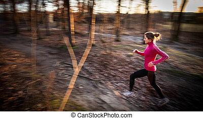 年輕婦女, 跑, 在戶外, 在, a, 城市公園, 上, a, 冷, fall/winte