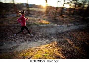 年輕婦女, 跑, 在戶外, 在, a, 城市公園