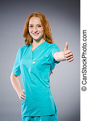 年輕婦女, 醫生, 在, 醫學的概念