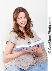 年輕婦女, 閱讀一本書