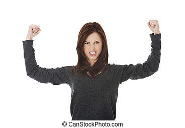 年輕婦女, 顯示, 她, 力量