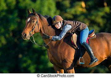 年輕婦女, 騎馬, a, 馬