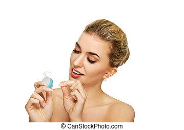年輕婦女, flossing, 她, teeth.