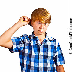 年輕男孩, 刷, 他的, 頭髮