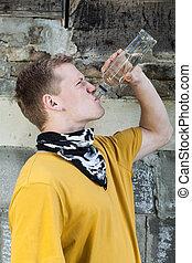 年輕男孩, 喝酒, 伏特加酒