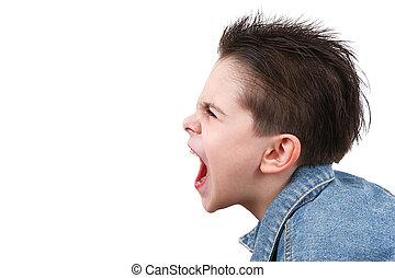 年輕男孩, 在, 憤怒