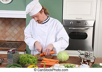 年輕的主廚, 準備午餐, 在, 廚房