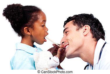 年輕的醫生, 檢查, 很少, girl\'s, 咽喉