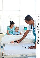 年輕的醫生, 檢查, a, 孩子, 病人