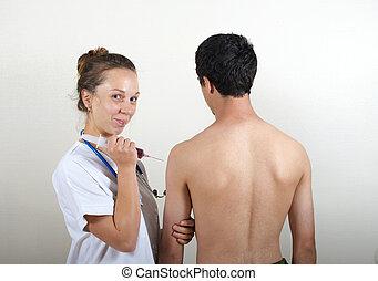 年輕的醫生, 由于, 她, 病人