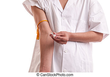 年輕的醫生, 藥物迷戀者, 人, 由于, 注射器, 在行動, 注射藥物