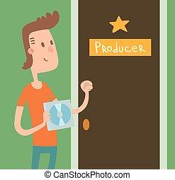 年輕音樂家, 男孩, 由于, 音樂cd, 敲, 門, 生產者, 矢量, illustration.