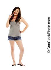 年輕, 亞洲女性, 由于, 太陽鏡, 穿, 熱的褲子
