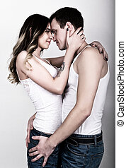 年輕, 以及, 充滿熱情, 夫婦, 在, love., lovers., 夫婦, 在愛過程中, embracing., 性感, 美麗, 擁抱的對, 以及, 親吻