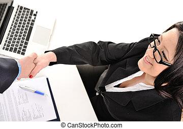 年輕, 以及, 相當, 秘書, 女孩, 晃動, 手, 由于, 辦公室, 夥伴