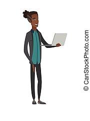年輕, 使用, 人, laptop., african american