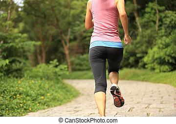 年輕, 健身, 婦女跑