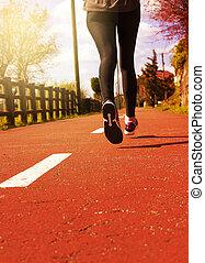 年輕, 健身, 婦女, 賽跑的人, 運動員, 跑, 在, 路