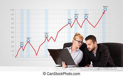 年輕, 商人, 以及, 從事工商業的女性, 計算, 證券市場, 由于, 上升, 圖表, 在, the, 背景
