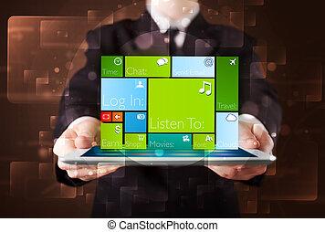 年輕, 商人, 拿一小塊, 由于, 現代, 軟件, 操作, 系統