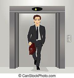 年輕, 商人, 由于, 公文包, 出來, ......的, 辦公樓, 電梯