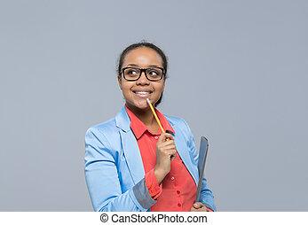 年輕, 女商人, 認為, 看, 到, 空, 模仿空間, 非裔美國人 女孩, 愉快, 微笑, 從事工商業的女性