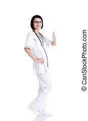年輕, 女性 醫生, 或者, 護士, 手勢, 很好