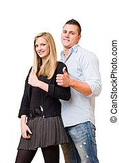 年輕, 學生, 夫婦, 顯示, 大, 拇指, 向上。