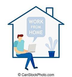 年輕, 工作, 坐, home., 工作, 人, 膝上型