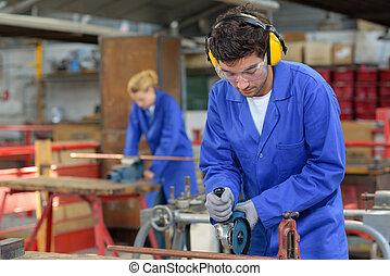 年輕, 工作, 工廠, 人們