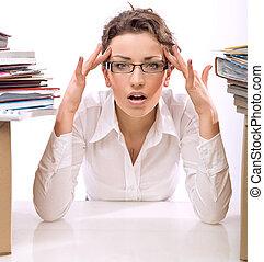 年輕, 從事工商業的女性, 在, 壓力
