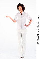 年輕, 從事工商業的女性, 由于, 手, 棕櫚
