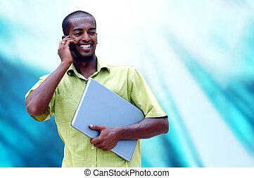 年輕, 愉快, 人, 或者, 學生, 由于, 膝上型, 以及, 電話, 上, the, 事務, 背景