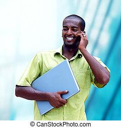 年輕, 愉快, 黑人, 或者, 學生, 由于, 膝上型, 上, the, 事務, 背景