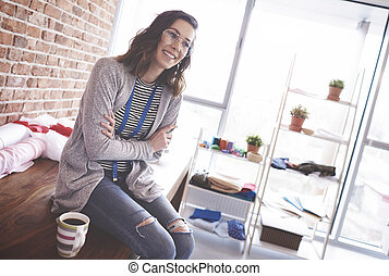 年輕 成人, 女裁縫, 在期間, 咖啡休息