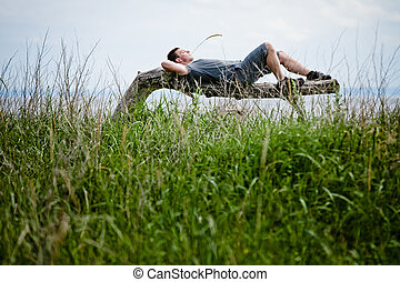 年輕 成人, 放松, 平安地, 在, 自然