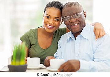 年輕 成人, african, 女孩, 以及, 父親, 喝咖啡