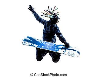 年輕, 擋雪板, 人, 黑色半面畫像