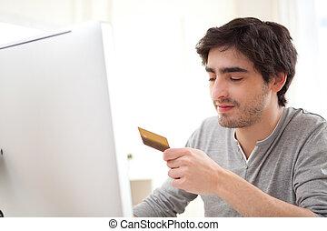 年輕, 放松, 人, 支付, 在網上, 由于, 信用卡