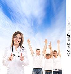 年輕, 有吸引力, 女性 醫生, 以及, 家庭