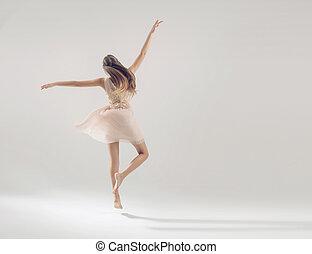 年輕, 有才能, 運動員, 在, 芭蕾舞, 跳舞