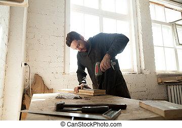 年輕, 木匠, 做, 木製品, 在, 木工工作