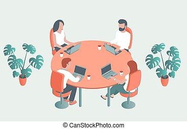 年輕, 桌子, 辦公室。, 人們坐, 輪, 筆記本電腦