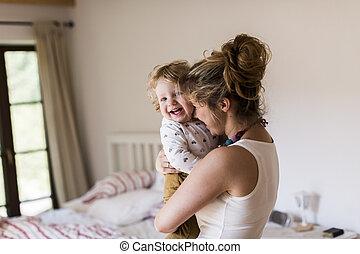 年輕, 母親, 在家, 藏品, 她, 漂亮, 很少, 兒子