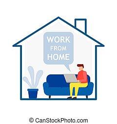 年輕, 沙發, 坐, home., 工作, 人, 膝上型