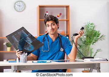 年輕, 漂亮, 醫生, radiologyst, 工作, 在, 門診部