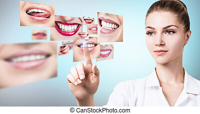 年輕, 牙醫, 醫生, 近, 拼貼藝術, ......的, 健康, 美麗, smiles.